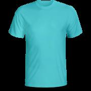 Áo cổ tròn màu xanh dương nhạt ( thân trước)
